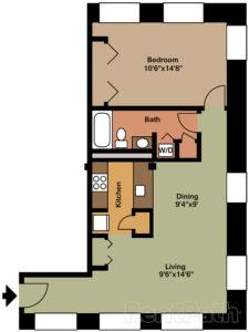 Floorplan for 1 Bedroom and 1 Bath